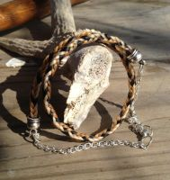 Braided Horsehair Choker - Tricolor by TarpanBeadworks