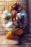 Tracer Overwatch Painting - Fan Art by rainwalker007
