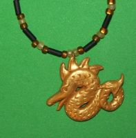 gold dragon necklace by ladytech