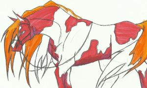 Ol Red the Red painted Pony by OmegaFoxy
