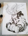 Hellboy inked by TheWolfMaria