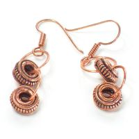 "Copper ""Vroom"" Earrings by silver-slivers"