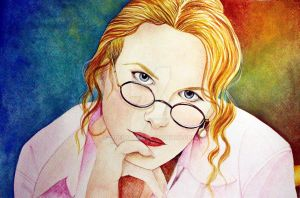 Nicole Kidman - Kubrick's tribute in watercolor. by AirelavArt