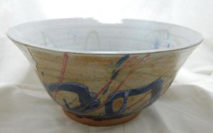 Large Bowl with Blue Loops by CaptainColossal