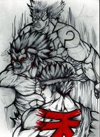 asura wrath,oni,evil ryu by theredmonster419