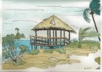 Bahamas beach--Watercolour and Ink by Avalon620