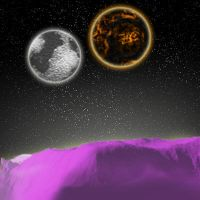 Planetview. Two moons by Solitare-Girl