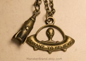 Ufo Spaceship Layered Necklace by MonsterBrandCrafts