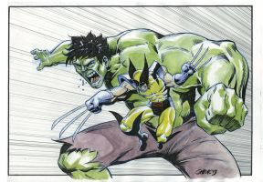 HULK and WOLVERINE Ink and watercolor by Gabor-Bd