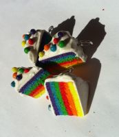 Rainbow Cake Earrings by KatGore