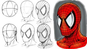 How to Draw Spider-man's Mask Step by Step by robertmarzullo