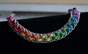 Rainbow and Silver Viper Basket Bracelet - For Sal by Ichi-Black
