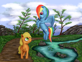 2 Ponies Meeting At The Pond by Critzie