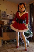 Mousey in a Christmas dress. by Aoi-the-kitsune