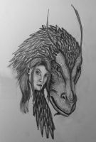 Arya and Firnen sketch by T-Arya