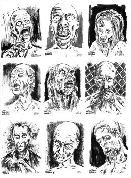 The Walkers Among Us - zombie sketch cards 1 by siebo7