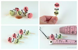 Miniature Amigurumi Hanami Dango by pocket-sushi