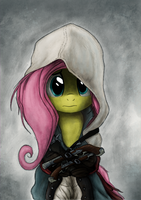 AssassinShy IV Butterfly Flag Portrait by Hewison