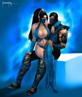 Sub-Zero and Kitana by LavitzDragon