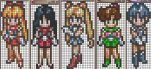 X-Stitch Patterns-Inner Senshi by missy-tannenbaum