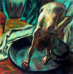 Woman Bathing in a Shallow Tub by casspike