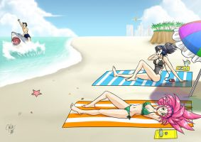 Commission: Beach Relaxing by Kurumi-Lover