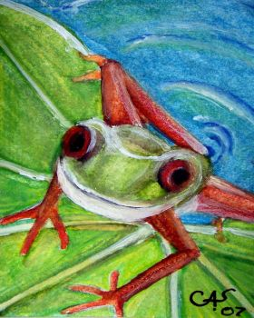 Frog On a Lily Pad by bluebutterflyart