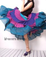 Purple Chiffon Long Full Skirt by yystudio