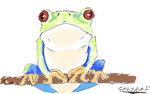 Frog perched on a branch by Gabtraf