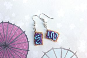 Kawaii Mini Amigurumi Wild-Berry Pop-Tart Earrings by SkySinger92