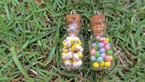 Miniature marshmallow and gumballs in a jar by gracelyt