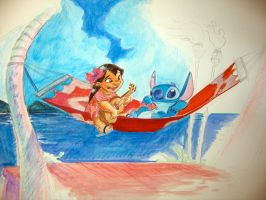 Lilo ans Stitch Water color by Hesstoons