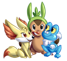 Chespin, Fennekin and Froakie by homa-Nix