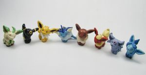 Mini Eeveelution Sculptures by LeiliaClay