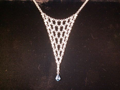 Sterling silver box weave necklace w/ crystal drop by Squidbush