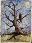 The Owl in the night by VeroFalcioniArt