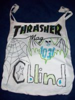 purse made from a shirt from thrasher mag. by 6death6stars6
