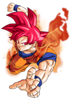 Goku super saiyan god by BardockSonic