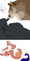 All My WIPS (Huge Dump) by Amiookamiwolf