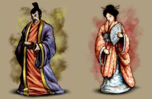 Shogun and his wife by Akeiron