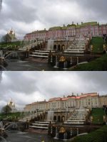 Peterhof Palace in two colors by KraljAleksandar