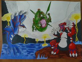 Kyogre Vs Groudon Vs Rayquaza by SoraSonic