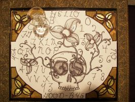 Talking board, with flowers by GingerBedlam