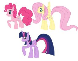 Pinkie Pie , FlutterShy And Twilight Sparkle by BS1512MLP