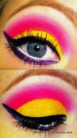 Pink, yellow and purple makeup look! :) by GlitterGirlC