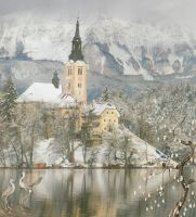 Winter Castle1 premade background by AngelaHolmesStock