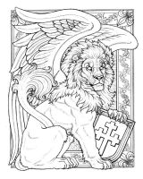 BoY Winged Lion Line Art by synnabar