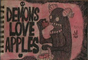 Demons and apples by GrimaceCat