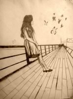 Girl on Bridge Sketch by anuragbishwas