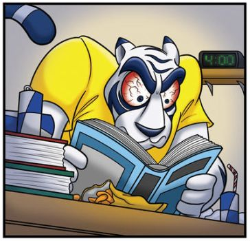 Ikey Tiger Studying All Night! by Elf-Tea-Rose